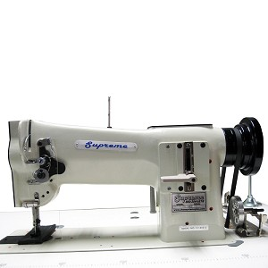 Supreme TK8BL Compound feed heavy duty lock stitch sewing machine with stand and motor